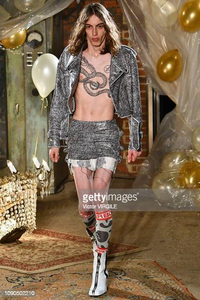 A model walks the runway during the Charles Jeffrey Loverboy Fall/Winter 20192020 fashion show during London Fashion Week Men's January 2019 at the...