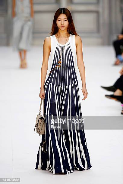 A model walks the runway during the Chloe designed by Clare Waight Keller show as part of the Paris Fashion Week Womenswear Spring/Summer 2017 on...