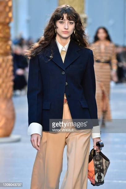 Model walks the runway during the Chloe Ready to Wear fashion show as part of the Paris Fashion Week Womenswear Fall/Winter 2020/2021 on February 27,...