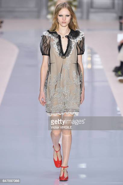A model walks the runway during the Chloe Ready to Wear fashion show as part of the Paris Fashion Week Womenswear Fall/Winter 2017/2018 on March 2...