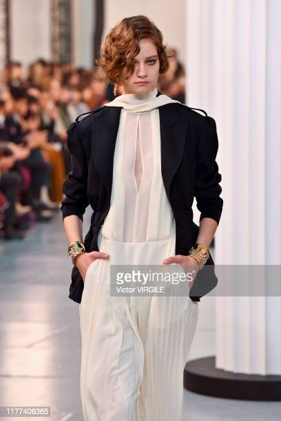 Model walks the runway during the Chloe Ready to Wear Spring/Summer 2020 fashion show as part of Paris Fashion Week on September 26, 2019 in Paris,...