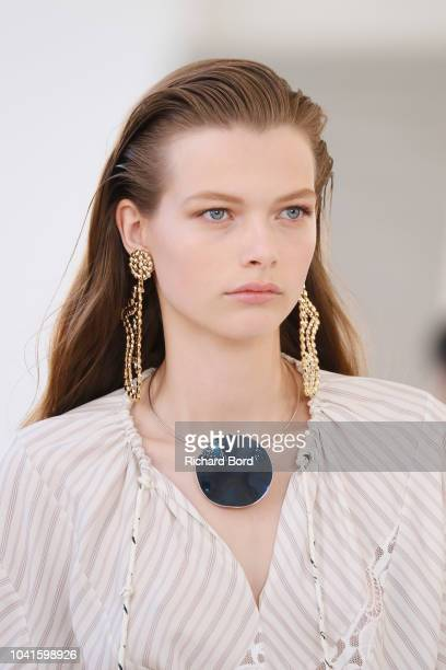 A model walks the runway during the Chloe show as part of the Paris Fashion Week Womenswear Spring/Summer 2019 on September 27 2018 in Paris France