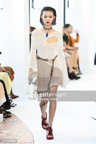 Model walks the runway during the Chloe show as part of the Paris Fashion Week Womenswear Spring/Summer 2019 on September 27, 2018 in Paris, France.