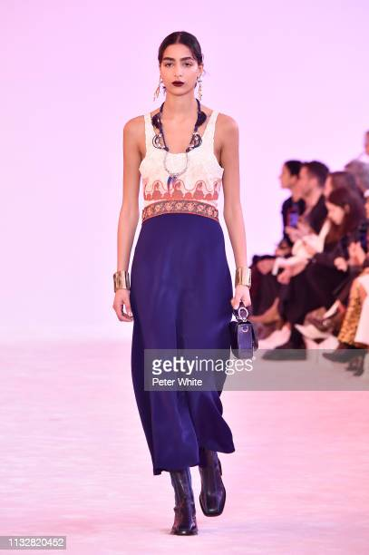 A model walks the runway during the Chloe show as part of the Paris Fashion Week Womenswear Fall/Winter 2019/2020 on February 28 2019 in Paris France