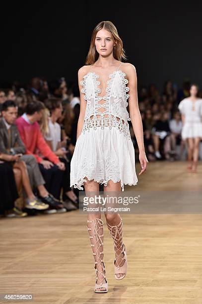 A model walks the runway during the Chloe show as part of the Paris Fashion Week Womenswear Spring/Summer 2015 on September 28 2014 in Paris France
