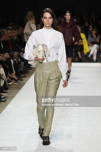 Model walks the runway during the Chloe show as part of the Paris Fashion Week Womenswear Fall/Winter 2014-2015 on March 2, 2014 in Paris, France.