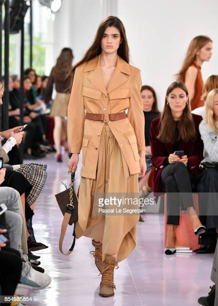 A model walks the runway during the Chloe show as part of the Paris Fashion Week Womenswear Spring/Summer 2018 on September 28 2017 in Paris France
