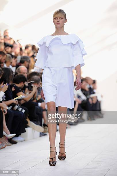 A model walks the runway during the Chloe Spring / Summer 2013 show as part of Paris Fashion Week at Espace Ephemere Tuileries on October 1 2012 in...