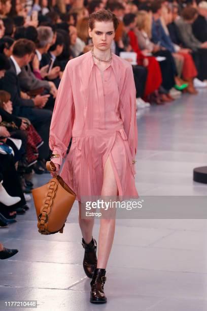 Model walks the runway during the Chloe Womenswear Spring/Summer 2020 show as part of Paris Fashion Week on September 26, 2019 in Grand Palais Paris,...
