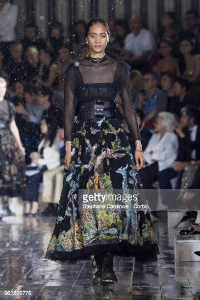 Model walks the runway during the Christian Dior Couture S/S19 Cruise Collection on May 25, 2018 in Chantilly, France.