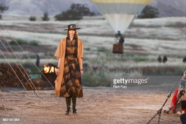 A model walks the runway during the Christian Dior Cruise 2018 Runway Show at the Upper Las Virgenes Canyon Open Space Preserve on May 11 2017 in...