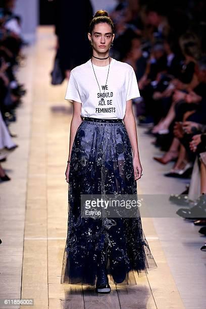 A model walks the runway during the Christian Dior designed by Maria Grazia Chiuri show as part of the Paris Fashion Week Womenswear Spring/Summer...
