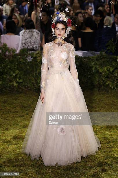 A model walks the runway during the Christian Dior designed by Maria Grazia Chiuri Spring Summer 2017 show as part of Paris Fashion Week on January...