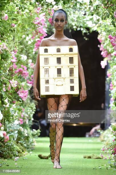 Model walks the runway during the Christian Dior Haute Couture Fall/Winter 2019 2020 show as part of Paris Fashion Week on July 01, 2019 in Paris,...