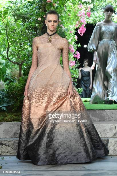 A model walks the runway during the Christian Dior Haute Couture Fall/Winter 2019 2020 show as part of Paris Fashion Week on July 01 2019 in Paris...