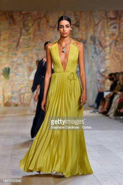 Model walks the runway during the Christian Dior Haute Couture Fall/Winter 2021/2022 show as part of Paris Fashion Week on July 05, 2021 in Paris,...