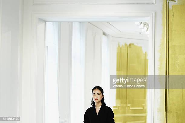 A model walks the runway during the Christian Dior Haute Couture Fall/Winter 20162017 show as part of Paris Fashion Week on July 4 2016 in Paris...