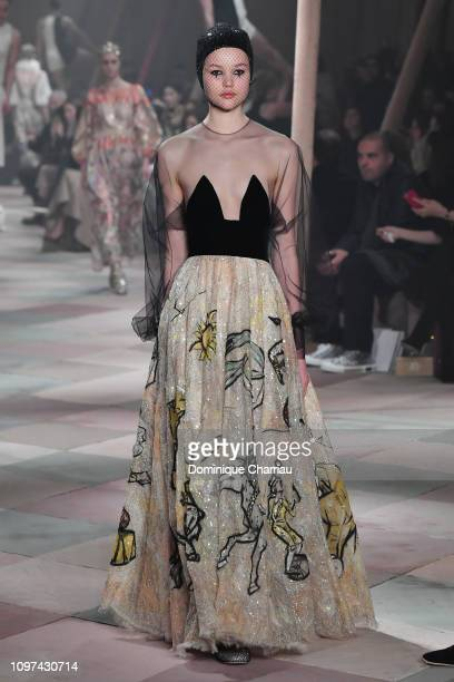 A model walks the runway during the Christian Dior Haute Couture Spring Summer 2019 show as part of Paris Fashion Week on January 21 2019 in Paris...