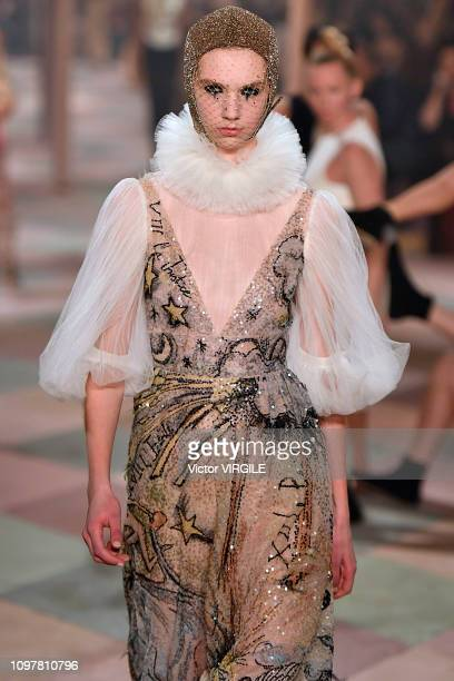 A model walks the runway during the Christian Dior Haute Couture Spring Summer 2019 fashion show as part of Paris Fashion Week on January 21 2019 in...