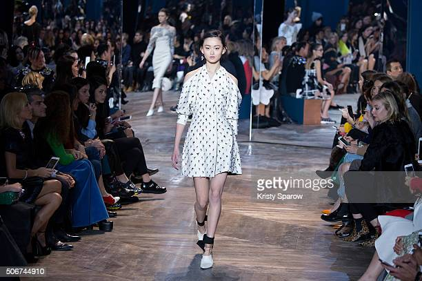 A model walks the runway during the Christian Dior Haute Couture Spring Summer 2016 show as part of Paris Fashion Week on January 25 2016 in Paris...