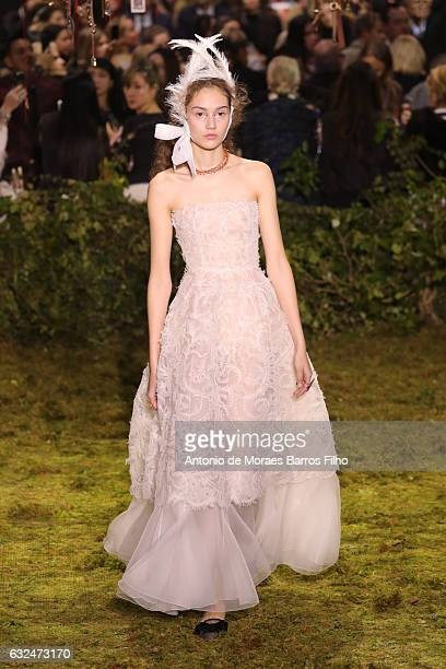 A model walks the runway during the Christian Dior Haute Couture Spring Summer 2017 show as part of Paris Fashion Week on January 23 2017 in Paris...