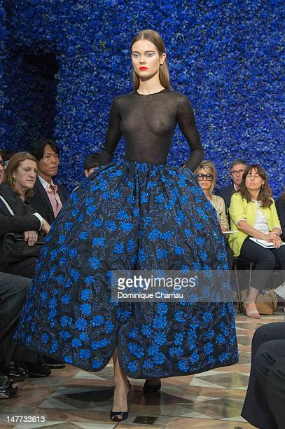 A model walks the runway during the Christian Dior HauteCouture Show as part of Paris Fashion Week Fall / Winter 2013 on July 2 2012 in Paris France