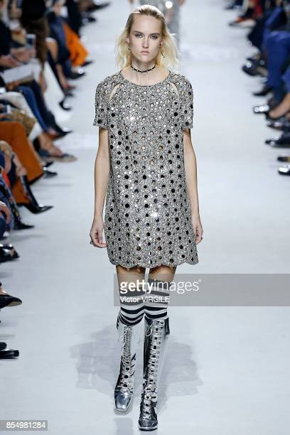 Model walks the runway during the Christian Dior Ready to Wear Spring/Summer 2018 fashion show as part of Paris Fashion Week at Musee Rodin on...