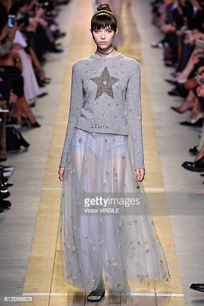A model walks the runway during the Christian Dior Ready to Wear fashion show as part of the Paris Fashion Week Womenswear Spring/Summer 2017 on...