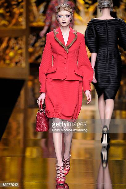 Model walks the runway during the Christian Dior Ready-to-Wear A/W 2009 fashion show during Paris Fashion Week at Espace Ephemere Tuileries on March...