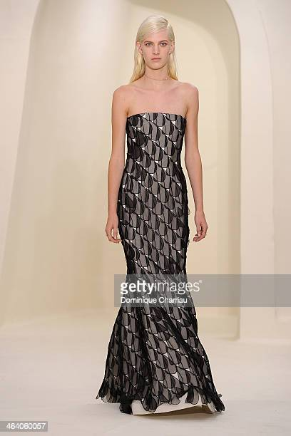 A model walks the runway during the Christian Dior show as part of Paris Fashion Week Haute Couture Spring/Summer 2014 on January 20 2014 in Paris...