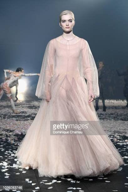 Model walks the runway during the Christian Dior show as part of the Paris Fashion Week Womenswear Spring/Summer 2019 on September 24, 2018 in Paris,...