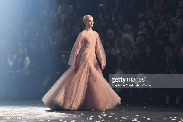 A model walks the runway during the Christian Dior show as part of the Paris Fashion Week Womenswear Spring/Summer 2019 on September 24 2018 in Paris...