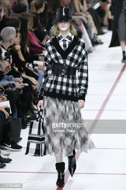 Model walks the runway during the Christian Dior show as part of the Paris Fashion Week Womenswear Fall/Winter 2019/2020 on February 26, 2019 in...