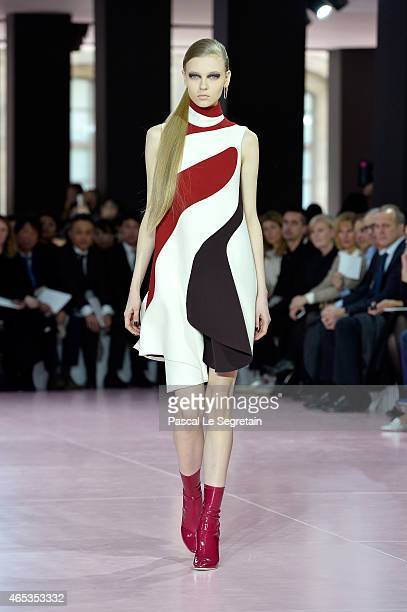 A model walks the runway during the Christian Dior show as part of the Paris Fashion Week Womenswear Fall/Winter 2015/2016 on March 6 2015 in Paris...