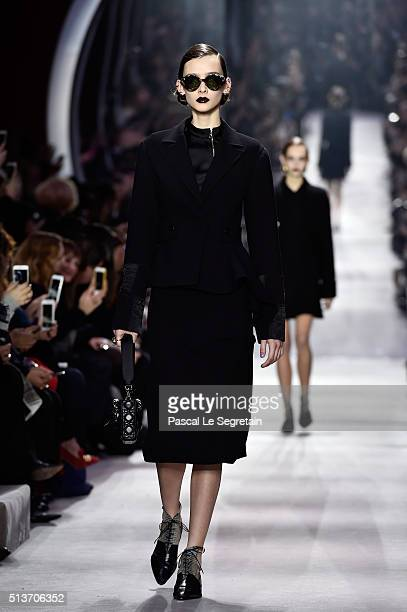 A model walks the runway during the Christian Dior show as part of the Paris Fashion Week Womenswear Fall/Winter 2016/2017 on March 4 2016 in Paris...
