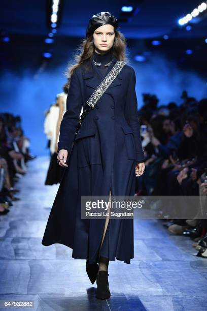 Model walks the runway during the Christian Dior show as part of the Paris Fashion Week Womenswear Fall/Winter 2017/2018 at Musee Rodin on March 3,...