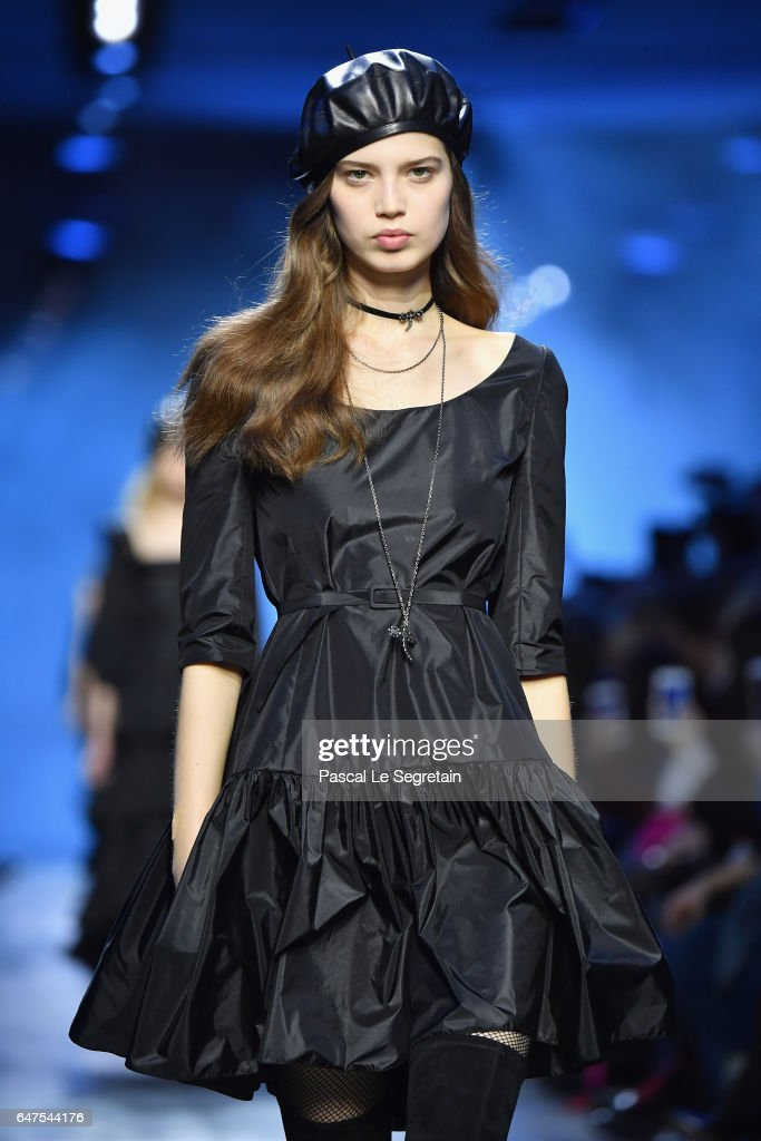 A model walks the runway during the Christian Dior show as part of the Paris Fashion Week Womenswear Fall/Winter 2017/2018 at Musee Rodin on March 3, 2017 in Paris, France.