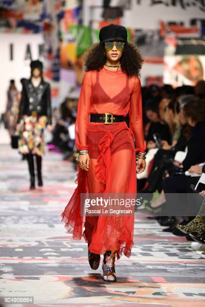 Model walks the runway during the Christian Dior show as part of the Paris Fashion Week Womenswear Fall/Winter 2018/2019 on February 27, 2018 in...