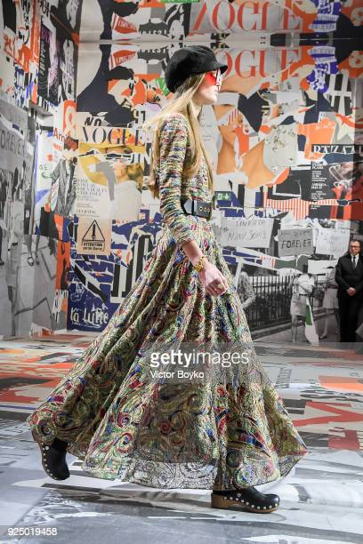 A model walks the runway during the Christian Dior show as part of the Paris Fashion Week Womenswear Fall/Winter 2018/2019 on February 27 2018 in...
