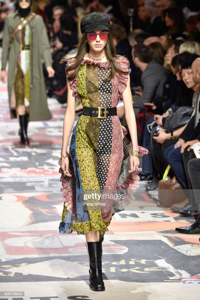 A model walks the runway during the Christian Dior show as part of the Paris Fashion Week Womenswear Fall/Winter 2018/2019 on February 27, 2018 in Paris, France.