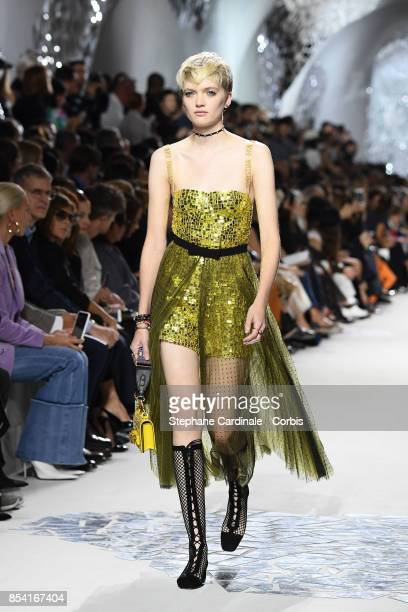A model walks the runway during the Christian Dior Spring Summer 2018 show as part of Paris Fashion Week at Musee Rodin on September 26 2017 in Paris...