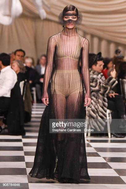 A model walks the runway during the Christian Dior Spring Summer 2018 show as part of Paris Fashion Week on January 22 2018 in Paris France