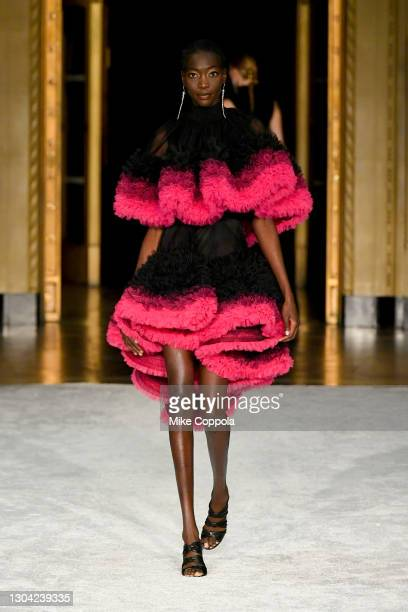 Model walks the runway during the Christian Siriano FW2021 NYFW Show at Gotham Hall on February 25, 2021 in New York City.