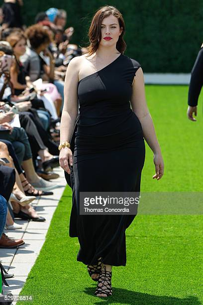 A model walks the runway during the Christian Siriano x Lane Bryant Runway Show at United Nations on May 9 2016 in New York City