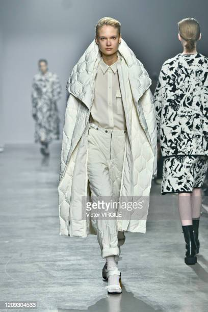 Model walks the runway during the Christian Wijnants Ready to Wear fashion show as part of the Paris Fashion Week Womenswear Fall/Winter 2020-2021 on...