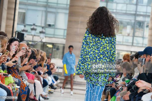 Model walks the runway during the Christian Wijnants show as part of the Paris Fashion Week Womenswear Spring/Summer 2019 on September 28, 2018 in...