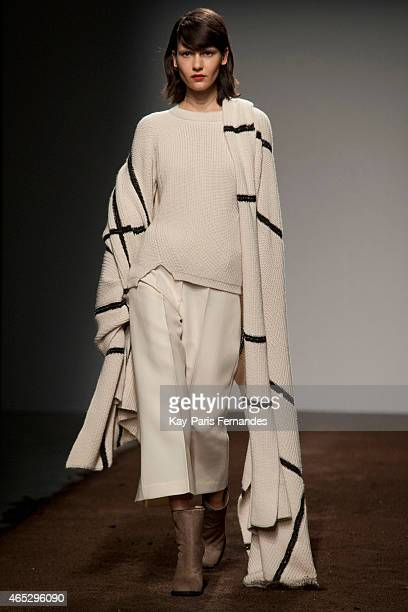 Model walks the runway during the Christian Wijnants show as part of the Paris Fashion Week Womenswear Fall/Winter 2015/2016 on March 5, 2015 in...