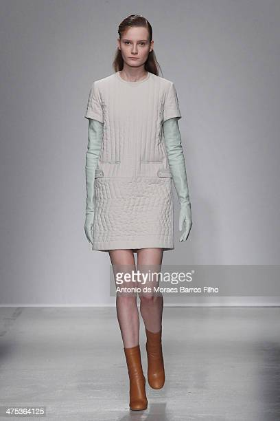 Model walks the runway during the Christian Wijnants show as part of the Paris Fashion Week Womenswear Fall/Winter 2014-2015 on February 27, 2014 in...
