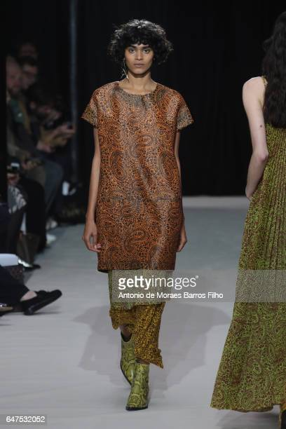 Model walks the runway during the Christian Wijnants show as part of the Paris Fashion Week Womenswear Fall/Winter 2017/2018 on March 3, 2017 in...