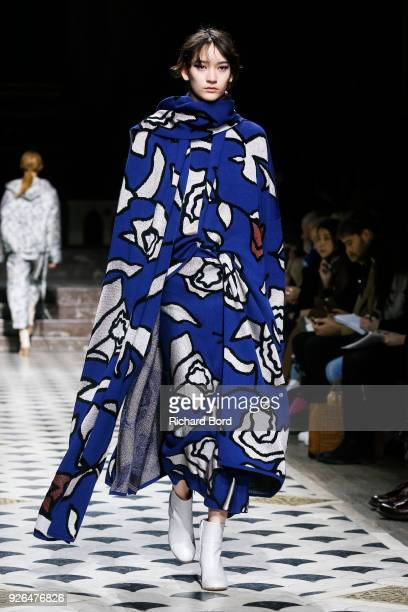 Model walks the runway during the Christian Wijnants show at 'Cathedrale Amerciaine' as part of the Paris Fashion Week Womenswear Fall/Winter...